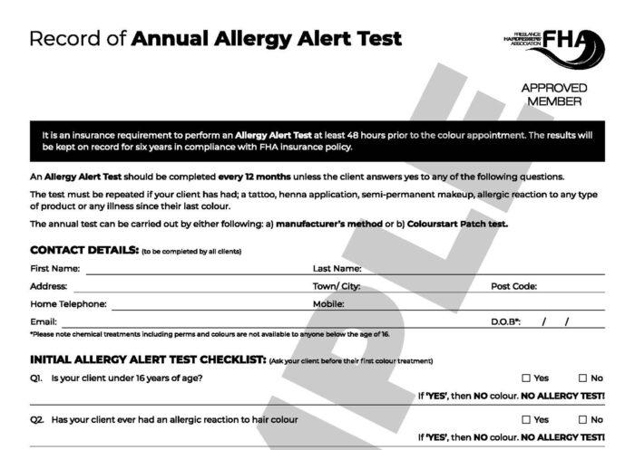 Annual Allergy Alert / Skin Test Form