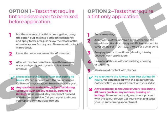 A4 Allergy Allert Home Testing Kit Card - Reverse Side