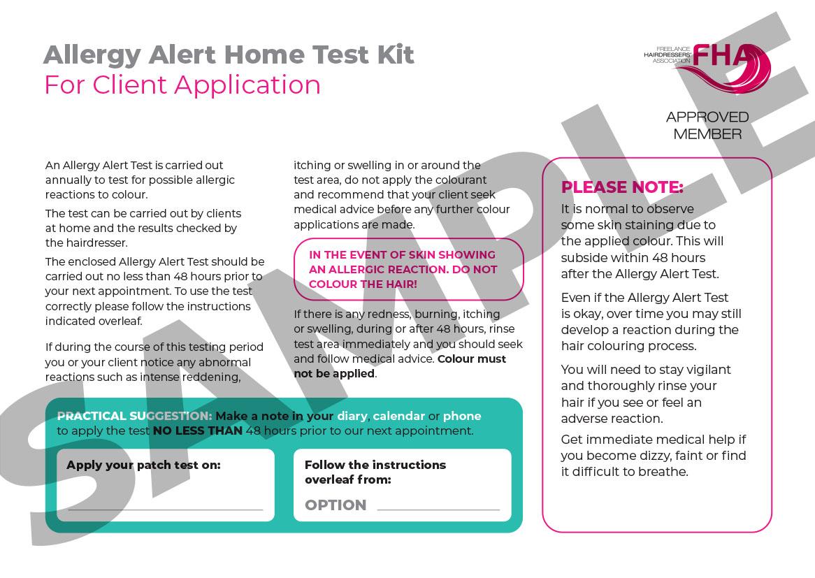 A4 Allergy Allert Home Testing Kit Card