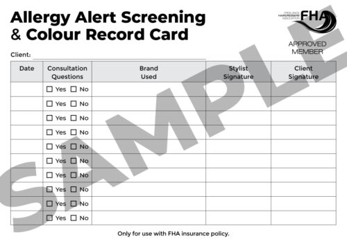 Allergy Alert / Skin Test Consultation & Colour Record Card