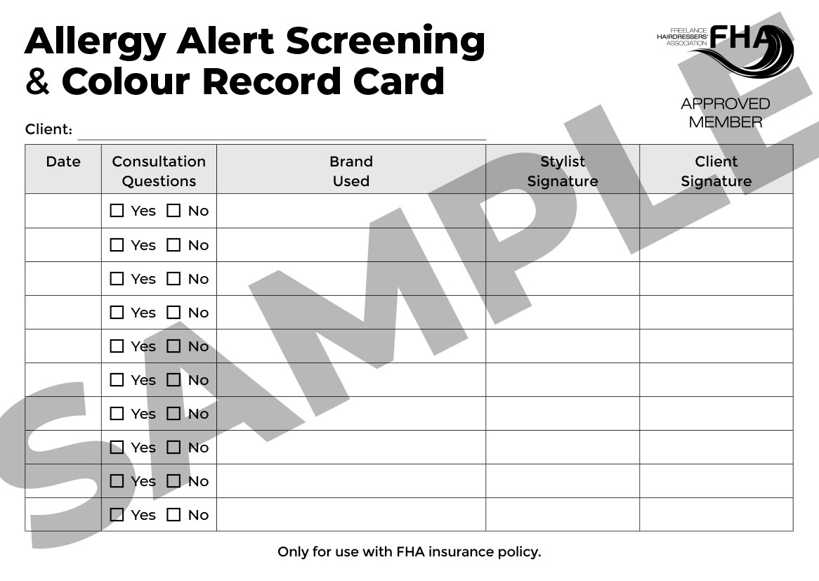Allergy Alert / Skin Test Consultation & Colour Record Card