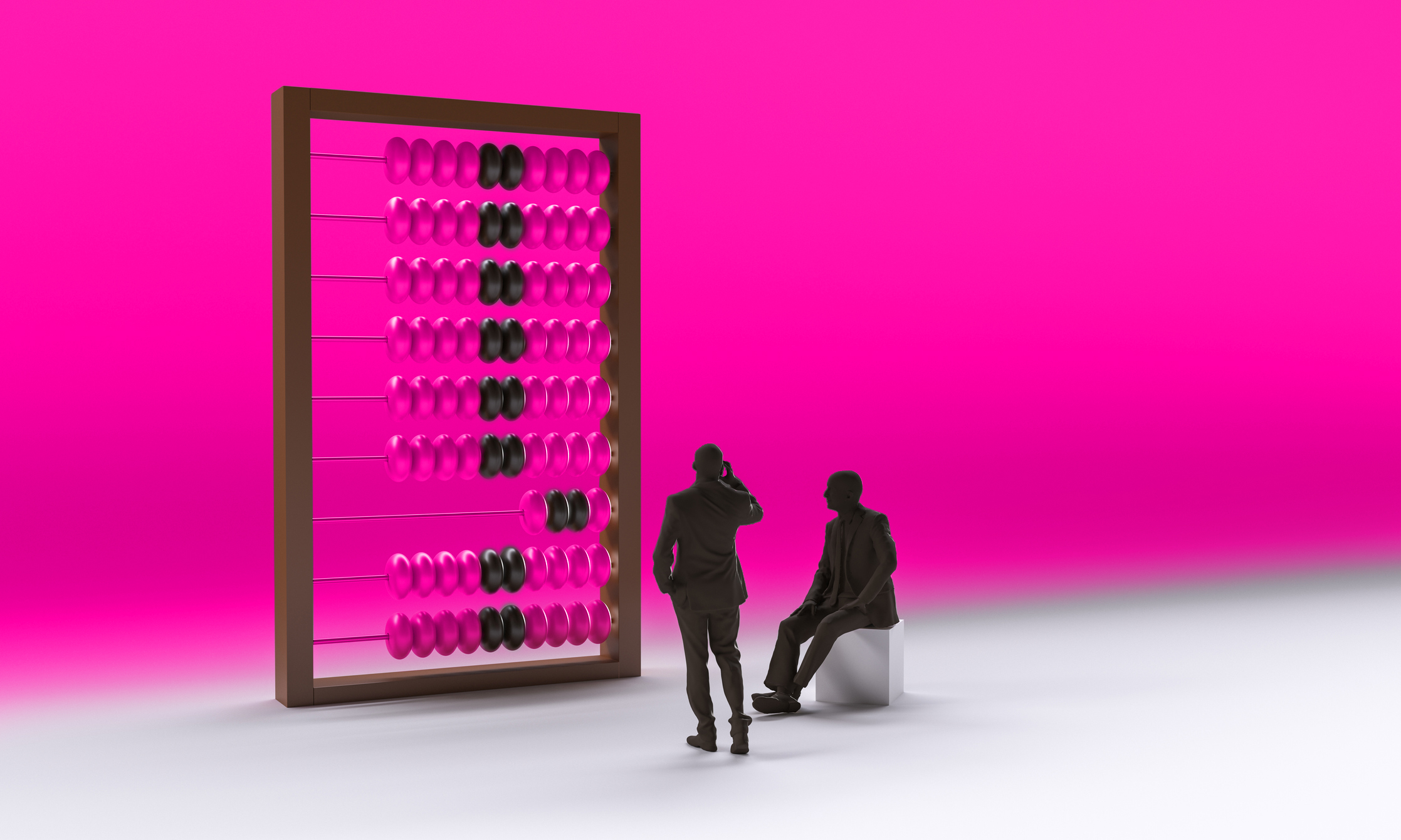 Figures standing in-front of an abacus working out numbers