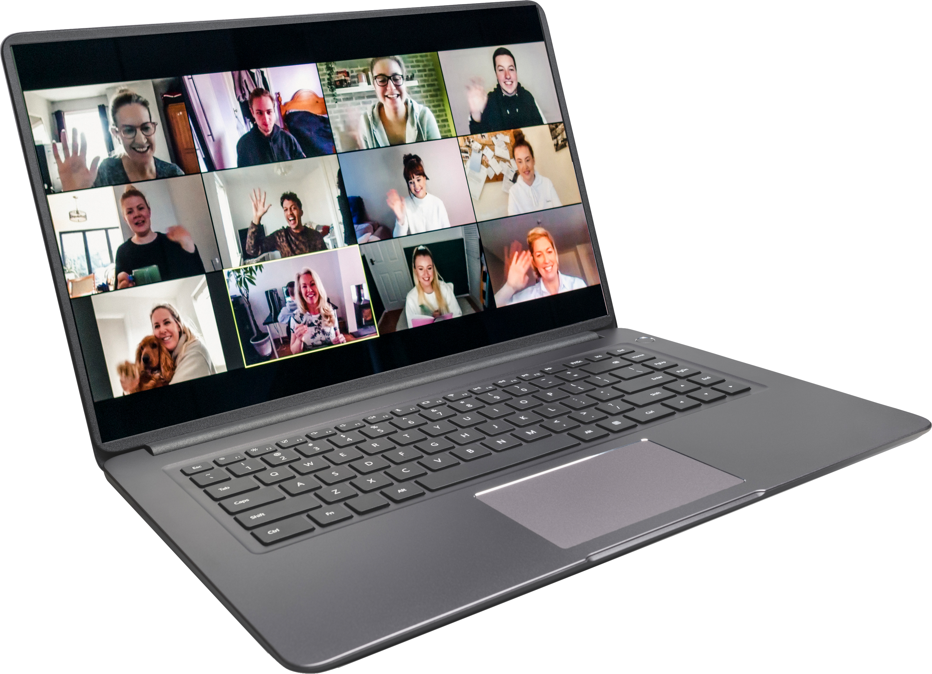 Laptop running a Zoom web conferencing meeting.